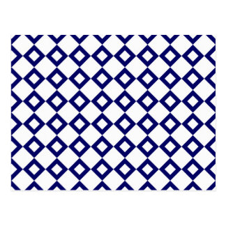 White and Navy Diamond Pattern Postcard