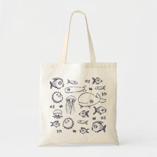 White and Navy Fish Drawing Beach Tote Bag
