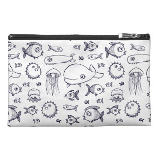 White and Navy Fish Drawing Travel Case Travel Accessory Bags