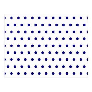 White and Navy Polka Dots Postcard