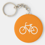 White and Orange Bike Basic Round Button Key Ring