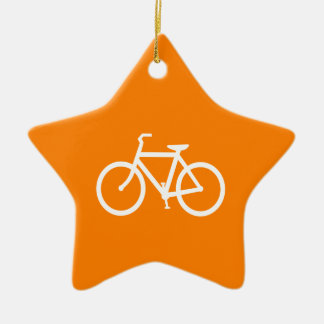 White and Orange Bike Christmas Ornament