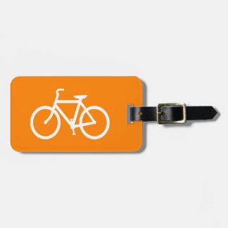White and Orange Bike Luggage Tag