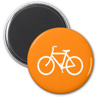 White and Orange Bike Magnet