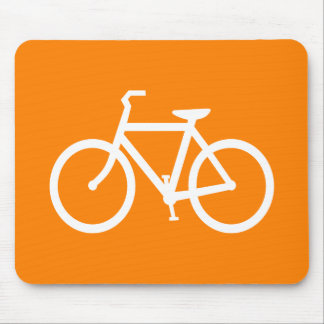 White and Orange Bike Mouse Pad