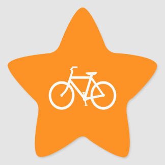 White and Orange Bike Star Sticker