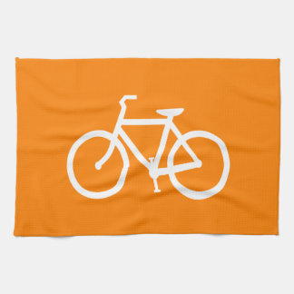 White and Orange Bike Tea Towel