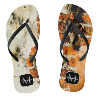 White and orange Broken brick wall Monogram Flip Flops