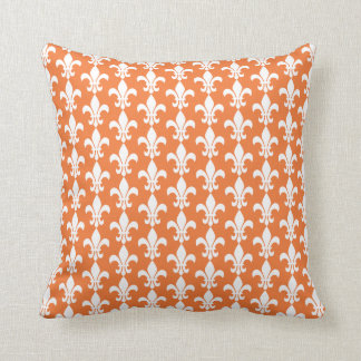 White and Orange Fleur de Lis Pattern Cushion