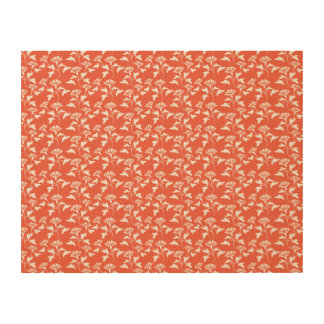 white and orange flower pattern wood print