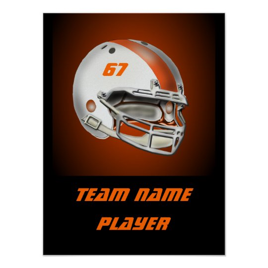 White and Orange Football Helmet Poster