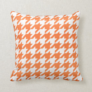 White and Orange Houndstooth Pattern Cushion