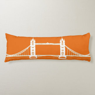 White and Orange London Bridge Silhouette Body Cushion