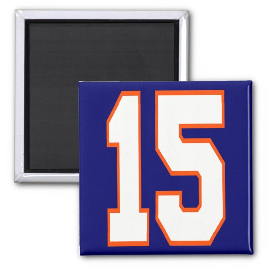 WHITE AND ORANGE NUMBER 15 SQUARE MAGNET