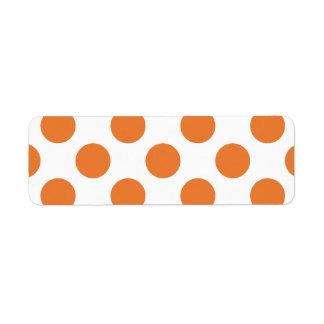 White and Orange Polka Dots Return Address Label
