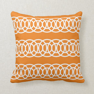 White and Orange Trellis Decorative Throw Pillow