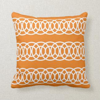 White and Orange Trellis Decorative Throw Pillow Cushion