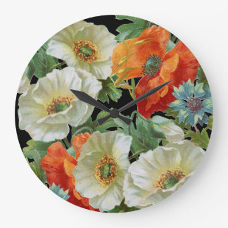 White and Orange Vintage Poppies Floral Wall Clock