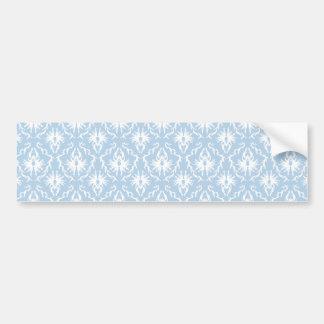 White and Pale Blue Damask Design Bumper Stickers
