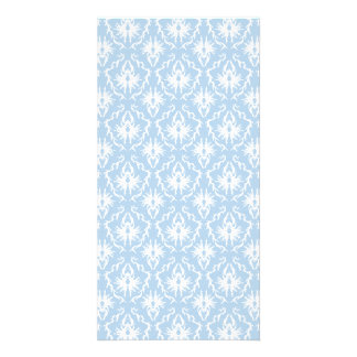 White and Pale Blue Damask Design. Card