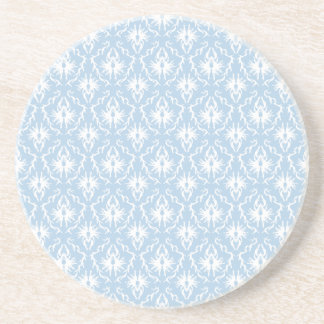 White and Pale Blue Damask Design. Coaster
