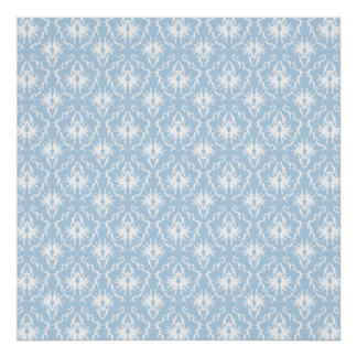White and Pale Blue Damask Design Print