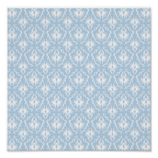 White and Pale Blue Damask Design. Posters