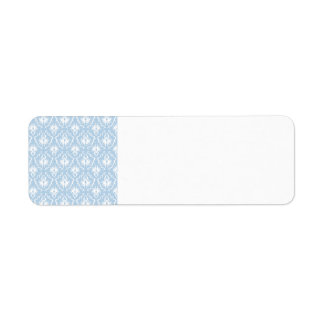 White and Pale Blue Damask Design. Return Address Label