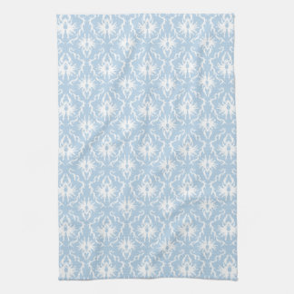 White and Pale Blue Damask Design. Tea Towel