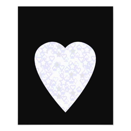 White and Pale Blue Heart. Patterned Heart Design. Personalized Flyer