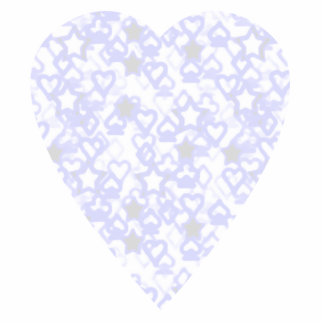 White and Pale Blue Heart. Patterned Heart Design. Photo Cut Outs