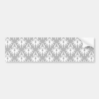 White and Pale Gray Damask Pattern Bumper Sticker