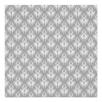 White and Pale Gray Damask Pattern Poster