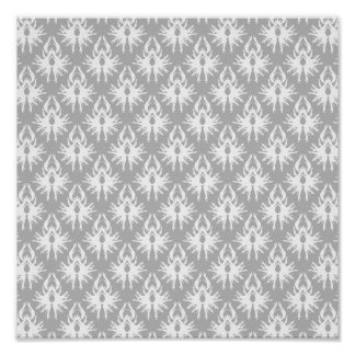 White and Pale Gray Damask Pattern. Poster