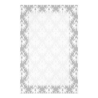 White and Pale Gray Damask Pattern. Stationery