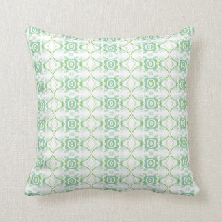 White and Pale Green Flower Pattern. Cushion