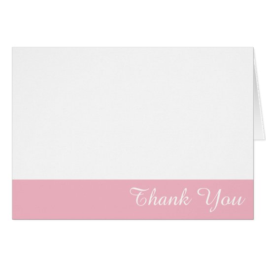 White and Pale Pink Edge Thank You Card