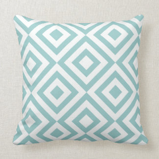 White And Pastel Blue Geometric Squares Pattern Cushion