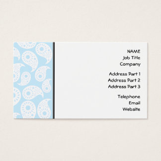 White and Pastel Blue Paisley. Business Card