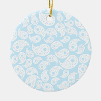 White and Pastel Blue Paisley. Christmas Ornament