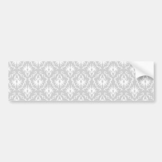 White and Pastel Gray Damask Design Bumper Sticker