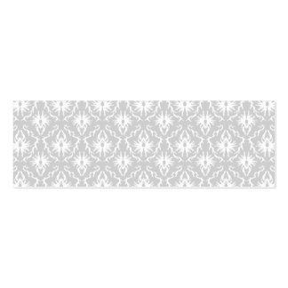 White and Pastel Gray Damask Design. Pack Of Skinny Business Cards