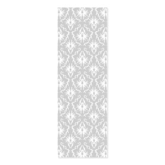 White and Pastel Gray Damask Design Business Card Templates