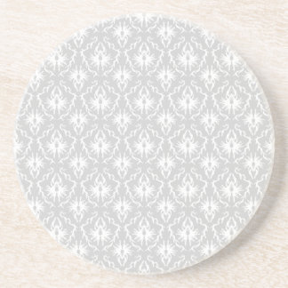 White and Pastel Gray Damask Design. Coaster