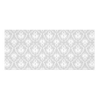 White and Pastel Gray Damask Design. Full Colour Rack Card
