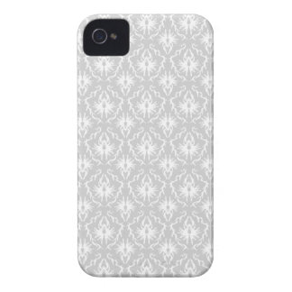 White and Pastel Gray Damask Design. iPhone 4 Case