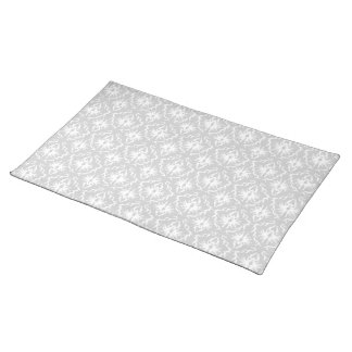 White and Pastel Gray Damask Design. Placemat