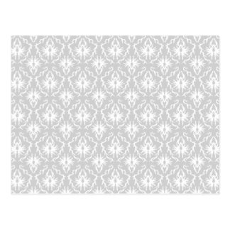 White and Pastel Gray Damask Design. Postcards