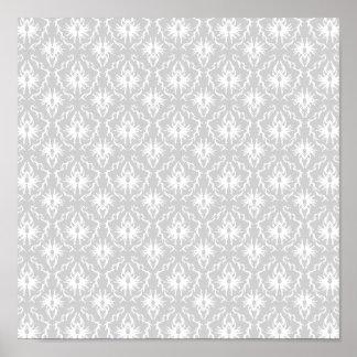 White and Pastel Gray Damask Design. Print