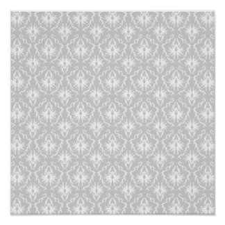 White and Pastel Gray Damask Design Poster